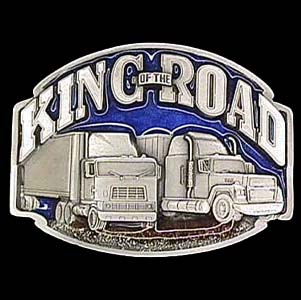 Belt Buckle - King of the Road Trucker - This finely sculpted and hand enameled King of the Road trucker belt buckle contains exceptional 3D detailing. Siskiyou's unique buckle designs often become collector's items and are unequaled with the best craftsmanship.