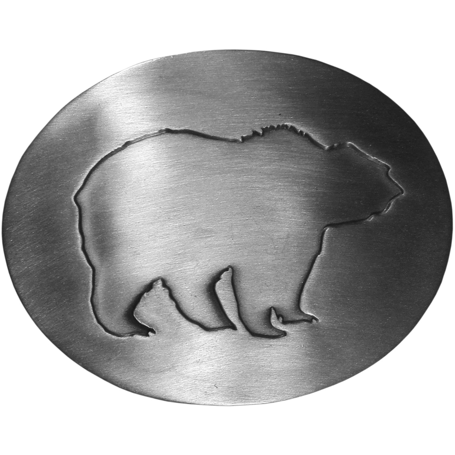 "Grizzly Silhouette Antiqued Belt Buckle - ""Grizzly bear belt buckle features a grizzly bear in silhouette. This exquisite buckle is made of fully cast metal with a standard bale that fits up to 2"""" belts."""