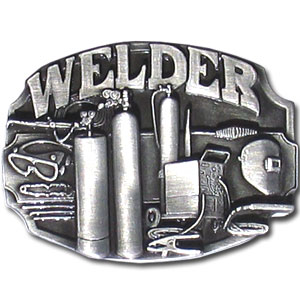 Belt Buckle - Welder Tools - This finely sculpted welder belt buckle contains exceptional 3D detailing. Siskiyou's unique buckle designs often become collector's items and are unequaled with the best craftsmanship.
