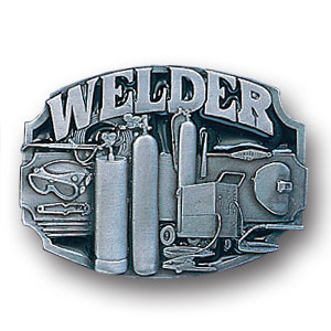 Belt Buckle - Welder Tools - This finely sculpted and hand enameled welder belt buckle contains exceptional 3D detailing. Siskiyou's unique buckle designs often become collector's items and are unequaled with the best craftsmanship.