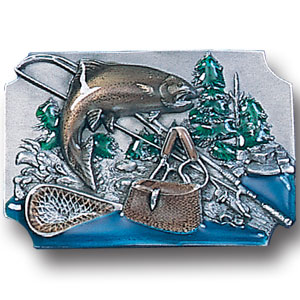 Belt Buckle - Fish with Gear Background - This finely sculpted and hand enameled Fish with Gear Background fishing belt buckle contains exceptional 3D detailing. Siskiyou's unique buckle designs often become collector's items and are unequaled with the best craftsmanship.
