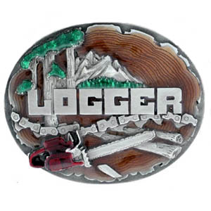 Belt Buckle - Logger 3D - This finely sculpted and hand enameled logger belt buckle contains exceptional 3D detailing. Siskiyou's unique buckle designs often become collector's items and are unequaled with the best craftsmanship.