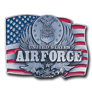 Military Belt Buckle - US Air Force/Flag  - This finely sculpted and hand enameled Air Force belt buckle contains exceptional 3D detailing. Siskiyou's unique buckle designs often become collector's items and are unequaled with the best craftsmanship.