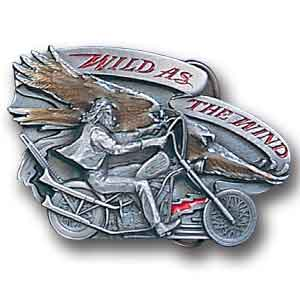 Belt Buckle -Wild as the Wind  - This finely sculpted and hand enameled biker belt buckle contains exceptional 3D detailing. Siskiyou's unique buckle designs often become collector's items and are unequaled with the best craftsmanship.
