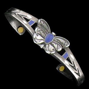 "Biomagnetic Bracelets - Butterfly - Biomagnetic Bracelets are cast in lead-free fine pewter and use ""Rare Earth"" gold plated Magnets - Butterfly"
