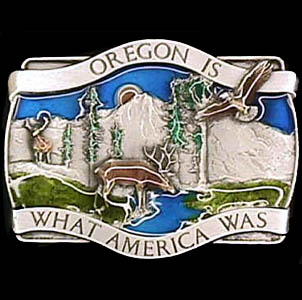 Belt Buckle - Oregon Is What America Was - This finely sculpted and hand enameled Oregon belt buckle contains exceptional 3D detailing. Siskiyou's unique buckle designs often become collector's items and are unequaled with the best craftsmanship.