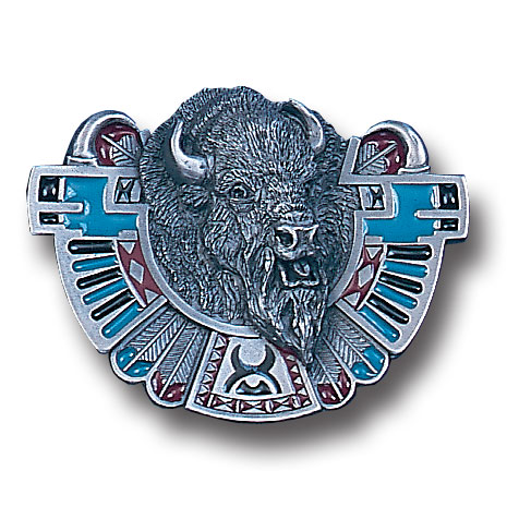 Belt Buckle - Buffalo Totem  - This finely sculpted and hand enameled buffalo totem belt buckle contains exceptional 3D detailing. Siskiyou's unique buckle designs often become collector's items and are unequaled with the best craftsmanship.