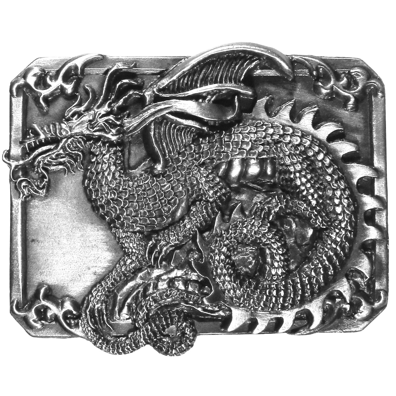 "Dragon Antiqued Belt Buckle - ""This dragon belt buckle is finely sculpted and intricately designed. Our unique designs often become collector's items.  This exquisitely carved buckle is made of fully cast metal with a standard bale that fits up to 2"""" belts."""