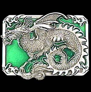 Belt Buckle - Dragon with Scroll - This finely sculpted and hand enameled dragon belt buckle contains exceptional 3D detailing. Siskiyou's unique buckle designs often become collector's items and are unequaled with the best craftsmanship.