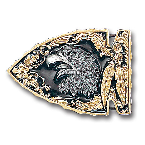 Belt Buckle - Eagle (Gold Vivatone) - This finely sculpted eagle belt buckle contains exceptional 3D detailing and is finished with gold vivatone. Siskiyou's unique buckle designs often become collector's items and are unequaled with the best craftsmanship.