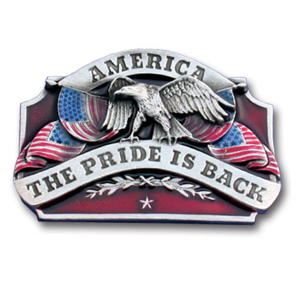 Belt Buckle - American Pride is Back - This finely sculpted and hand enameled American Pride belt buckle contains exceptional 3D detailing. Siskiyou's unique buckle designs often become collector's items and are unequaled with the best craftsmanship.