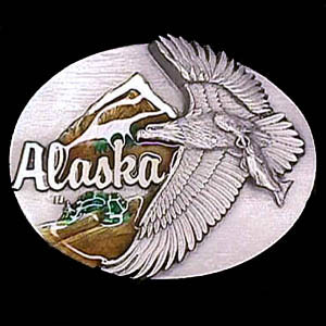 Belt Buckle - Alaska Eagle - This finely sculpted and hand enameled Alaska belt buckle contains exceptional 3D detailing. Siskiyou's unique buckle designs often become collector's items and are unequaled with the best craftsmanship.