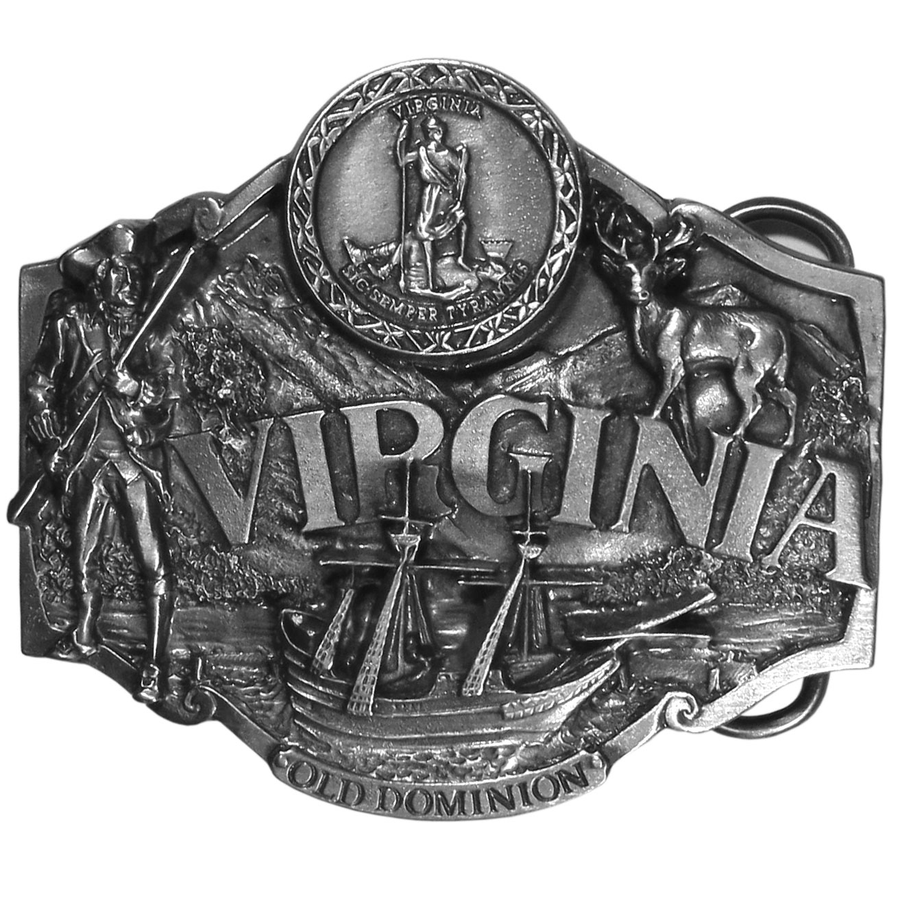 "Virginia Antiqued Belt Buckle - ""This belt buckle celebrates the state of Virginia!  """"Virginia"""" is written in bold across the center with the state seal above.  There is a Confederate soldier, an elk, mountains and water and an old time wooden ship with the words, """"Old Dominion"""" on the bottom, which refers to one of the best known nicknames for Virginia.  On the back are the words, """"Virginia became the 10th state on June 25, 1788.  The state tree is the flowering Dogwood and the state bird is the Cardinal.""""  This exquisitely carved buckle is made of fully cast metal with a standard bale that fits up to 2"""" belts."""
