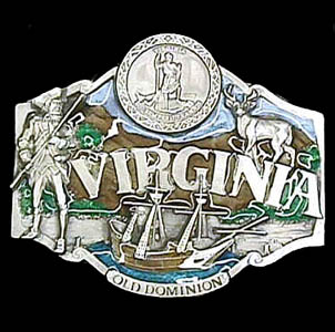 Belt Buckle - Virginia State Seal  - This finely sculpted and hand enameled Virginia belt buckle contains exceptional 3D detailing. Siskiyou's unique buckle designs often become collector's items and are unequaled with the best craftsmanship.