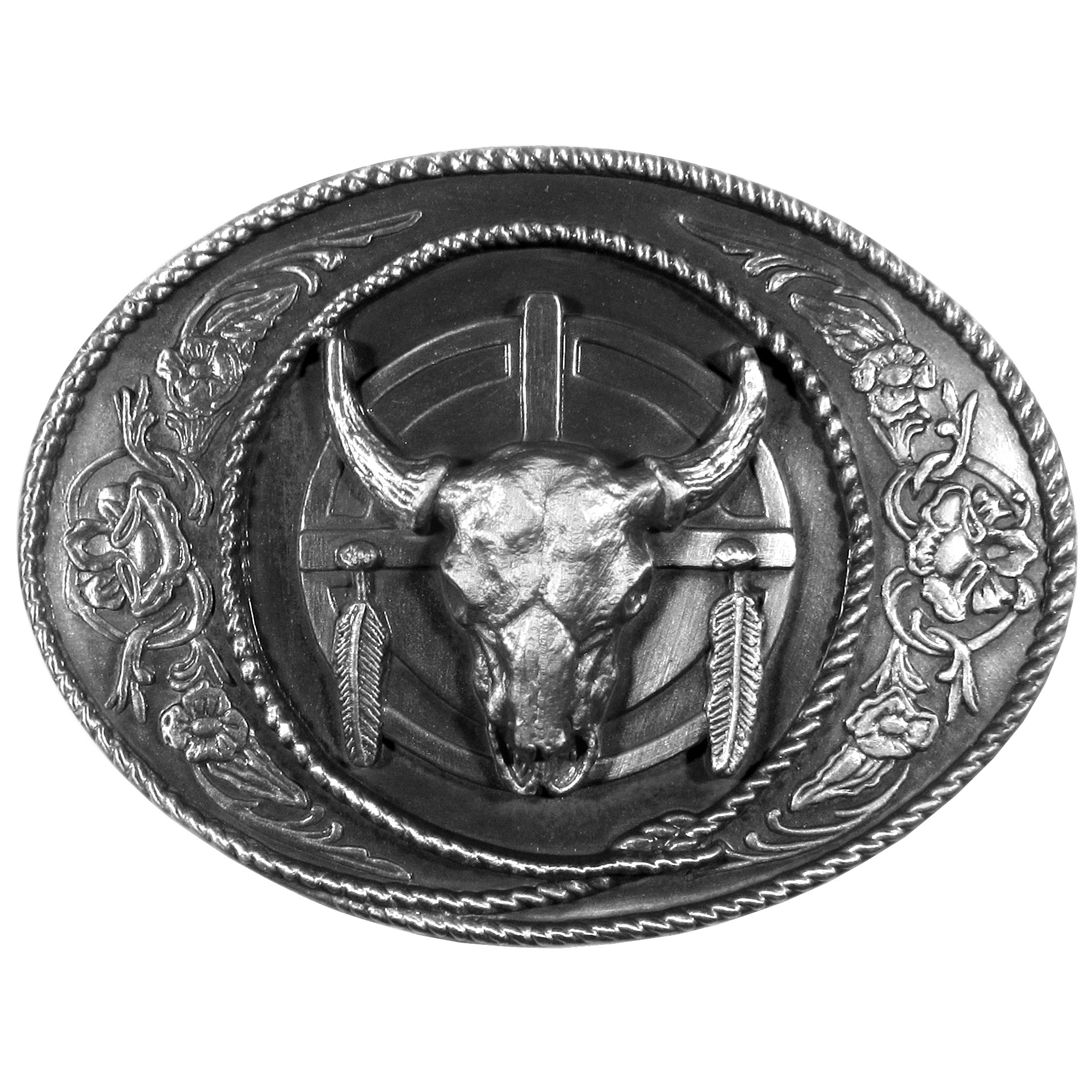 Buffalo Skull Antiqued Belt Buckle - Finely sculpted and intricately designed belt buckle. Our unique designs often become collector's items.