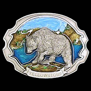 Belt Buckle - Yellowstone Bear  - This finely sculpted and hand enameled Yellow stone belt buckle contains exceptional 3D detailing. Siskiyou's unique buckle designs often become collector's items and are unequaled with the best craftsmanship.