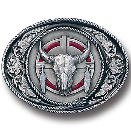 Belt Buckle - Western Buffalo Skull  - This finely sculpted and hand enameled buffalo skull belt buckle contains exceptional 3D detailing. Siskiyou's unique buckle designs often become collector's items and are unequaled with the best craftsmanship.