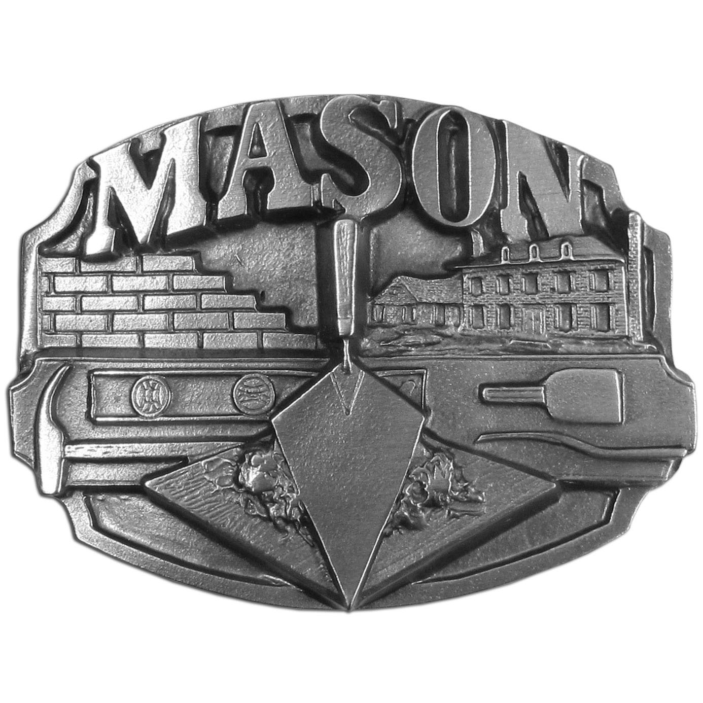 "Mason Antiqued Belt Buckle - ""This belt buckle celebrates the mason.  """"Mason"""" is written in bold across the top with a half built row of bricks, a brick house, a trowel and mud, a balance and a hammer.  On the back are the words, """"This buckle is dedicated to the mason whose ancient craft has built the foundation of civilization.""""  Our fully cast metal belt buckles have exceptional detail and fine craftmanship with an antiqued finish. Standard bale fits belts up to 2"""" in width."""