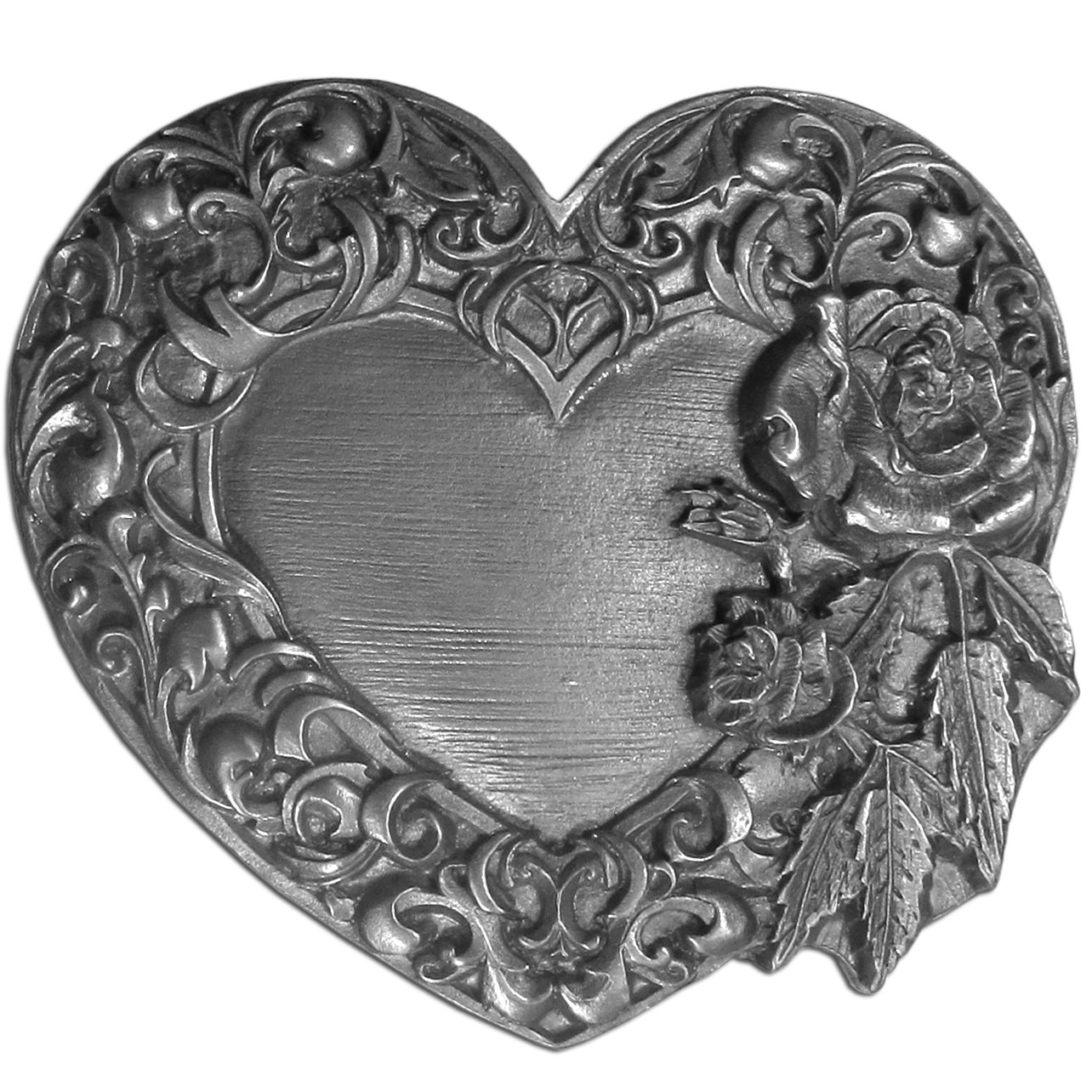 Rose and Heart Antiqued Belt Buckle - This fully cast metal belt buckle features intricately carved details and a gorgeous heart surrounding with a border of beautifully detailed roses.