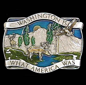Belt Buckle - Washington Is  - This finely sculpted and hand enameled Washington belt buckle contains exceptional 3D detailing. Siskiyou's unique buckle designs often become collector's items and are unequaled with the best craftsmanship.