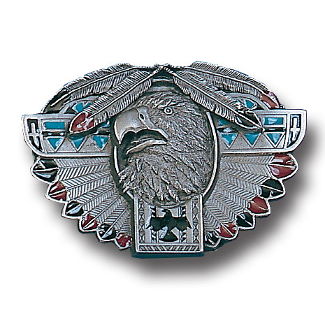 Belt Buckle - Thunderbird Totem  - This finely sculpted and hand enameled thunderbird totem belt buckle contains exceptional 3D detailing. Siskiyou's unique buckle designs often become collector's items and are unequaled with the best craftsmanship.