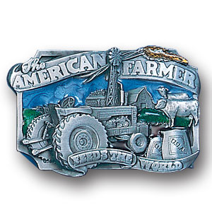 Belt Buckle - American Farmer  - This finely sculpted and hand enameled American Farmer belt buckle contains exceptional 3D detailing. Siskiyou's unique buckle designs often become collector's items and are unequaled with the best craftsmanship.