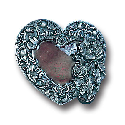 Belt Buckle - Western Heart/Rose  - This finely sculpted and hand enameled heart belt buckle contains exceptional 3D detailing. Siskiyou's unique buckle designs often become collector's items and are unequaled with the best craftsmanship.