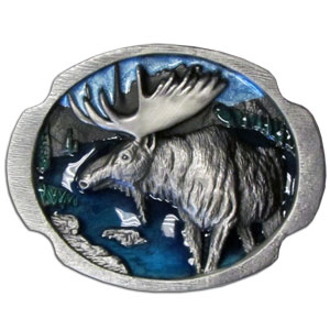 Belt Buckle - Moose at Lake - This finely sculpted and hand enameled moose belt buckle contains exceptional 3D detailing. Siskiyou's unique buckle designs often become collector's items and are unequaled with the best craftsmanship.