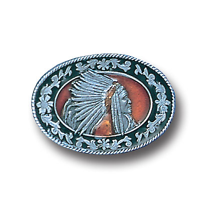 Belt Buckle - Indian with Headdress - This finely sculpted and hand enameled Indian belt buckle contains exceptional 3D detailing. Siskiyou's unique buckle designs often become collector's items and are unequaled with the best craftsmanship.