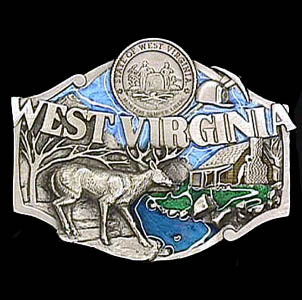 Belt Buckle - West Virginia State Seal  - This finely sculpted and hand enameled W. Virginia belt buckle contains exceptional 3D detailing. Siskiyou's unique buckle designs often become collector's items and are unequaled with the best craftsmanship.
