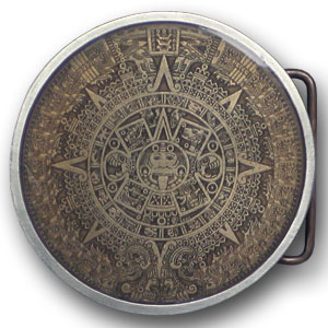 Aztec Calendar Buckle - Brown  - This finely sculpted and hand enameled Aztec belt buckle contains exceptional 3D detailing. Siskiyou's unique buckle designs often become collector's items and are unequaled with the best craftsmanship.
