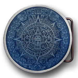 Aztec Calendar Buckle - Blue - This finely sculpted and hand enameled Aztec belt buckle contains exceptional 3D detailing. Siskiyou's unique buckle designs often become collector's items and are unequaled with the best craftsmanship.