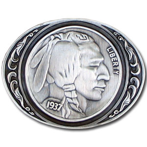 Belt Buckle - Indianhead Nickel - Finely sculpted and intricately designed Indian head nickle belt buckle. Our unique designs often become collector's items. Check out our entire line of  belt buckles.