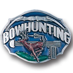 Belt Buckle - Bow hunting - This finely sculpted and hand enameled bow hunting belt buckle contains exceptional 3D detailing. Siskiyou's unique buckle designs often become collector's items and are unequaled with the best craftsmanship.