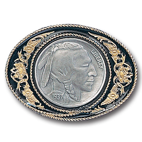 Belt Buckle - Indian Head Nickel - This finely sculpted Indian head nickle belt buckle contains exceptional 3D detailing and is finished with gold vivatone. Siskiyou's unique buckle designs often become collector's items and are unequaled with the best craftsmanship.