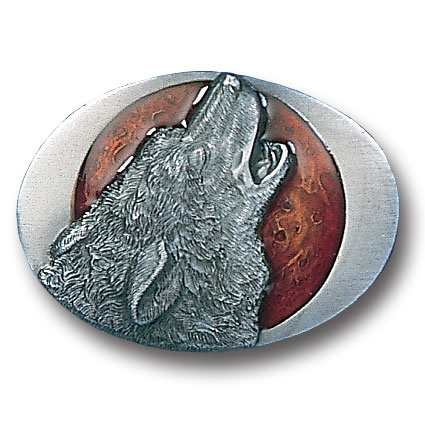 Belt Buckle - Howling Wolf  - This finely sculpted and hand enameled wolf belt buckle contains exceptional 3D detailing. Siskiyou's unique buckle designs often become collector's items and are unequaled with the best craftsmanship.
