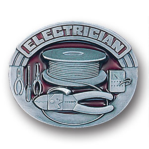 Belt Buckle - Electrician  - This finely sculpted and hand enameled electrician belt buckle contains exceptional 3D detailing. Siskiyou's unique buckle designs often become collector's items and are unequaled with the best craftsmanship.