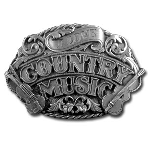 Belt Buckle - I Love Country Music - Finely sculpted and intricately designed country music belt buckle. Our unique designs often become collector's items. Check out our entire line of  belt buckles.