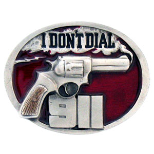 Belt Buckle - I Don't Dial 911 - This finely sculpted and hand enameled belt buckle contains exceptional 3D detailing. Siskiyou's unique buckle designs often become collector's items and are unequaled with the best craftsmanship.