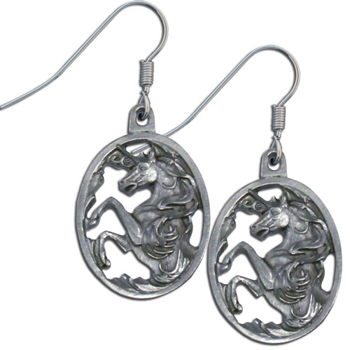 Dangle Earrings - Unicorn - Siskiyou's dangle earrings are cast in zinc, lead free and hypoallergenic featuring an emblem with a Unicorn.