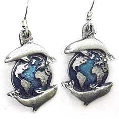 Dangle Earrings - Dolphins & Earth - Siskiyou's dangle earrings are cast in zinc, lead free and hypoallergenic featuring an emblem with a Dolphins and Earth.