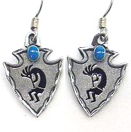 Dangle Earrings - Kokopelli - Siskiyou's dangle earrings are cast in zinc, lead free and hypoallergenic featuring an emblem with a Kokopelli.