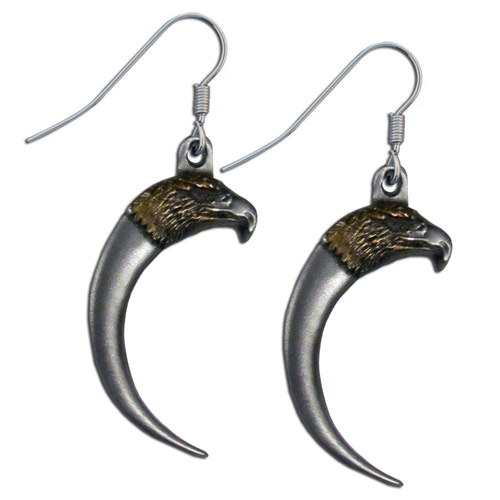 Dangle Earrings - Eagle & Claw - Siskiyou's dangle earrings are cast in zinc, lead free and hypoallergenic featuring an emblem with a Eagle and Claw.