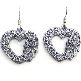 Dangle Earrings - Scroll Heart - Siskiyou's dangle earrings are cast in zinc, lead free and hypoallergenic featuring an emblem with a Scroll Heart.