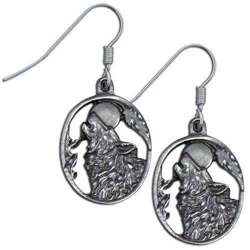 Dangle Earrings - Wolf Head - Siskiyou's dangle earrings are cast in zinc, lead free and hypoallergenic featuring an emblem with a Wolf Head.
