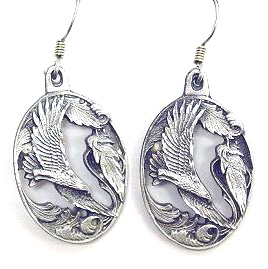Dangle Earrings - Flying Eagle - Siskiyou's dangle earrings are cast in zinc, lead free and hypoallergenic featuring an emblem with a Flying Eagle.
