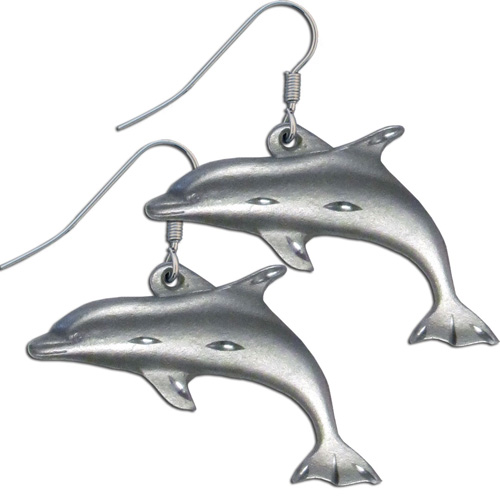 Dangle Earrings - Dolphins - Siskiyou's dangle earrings are cast in zinc, lead free and hypoallergenic featuring an emblem with a Dolphins.