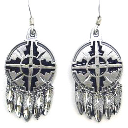 Dangle Earrings - Shield & Feathers - Siskiyou's dangle earrings are cast in zinc, lead free and hypoallergenic featuring an emblem with a Shield and Feathers.
