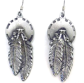 Dangle Earrings - Concho & Feathers - Siskiyou's dangle earrings are cast in zinc, lead free and hypoallergenic featuring an emblem with a Concho and Feathers.