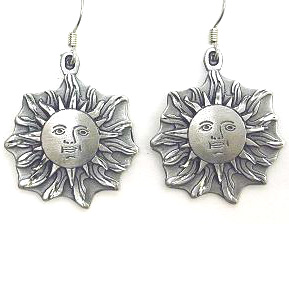 Dangle Earrings - Sun Face - Siskiyou's dangle earrings are cast in zinc, lead free and hypoallergenic featuring an emblem with a Sun Face.